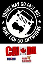 4X4 YOURS MAY GO FAST MINE CAN GO ANYWHERE Truck Off-road AWD Car Sticker Silver