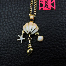 Betsey Johnson Enamel Pearl Shell Conch Starfish Crystal Pendant Chain Necklace