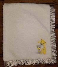 Carters Child of Mine White Baby Blanket Yellow Giraffe Gray Dot Satin Trim