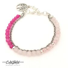 Stackable Beaded Petite Bracelet Pink Quartz Rose Ruby Tree Of Life Charm Gift