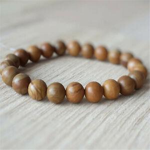 8mm Natural Wood Stone Handmade Mala Bracelet Chakas Spirituality Yoga Buddhism