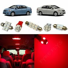 6x Red LED lights interior package kit for 2007-2012 Toyota Yaris Sedan TY1R