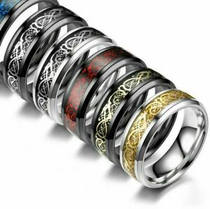 Men's 8 mm Celtic Dragon Ring Silver Gold Black Wedding Titanium Stainless Steel