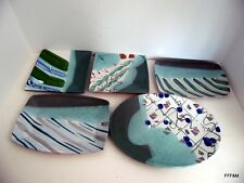 Lost Mountain Pottery Handmade Sushi Salad Plates 5 Shapes Slab Built Glazed