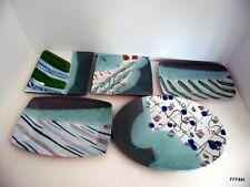 Lost Mountain Pottery Handmade Sushi Salad Plates 5 Shapes Slab Built Glazed