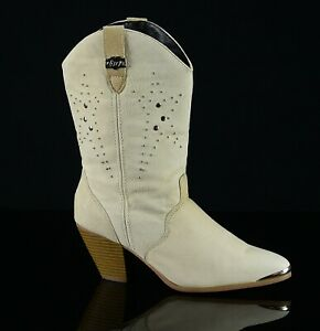 Dingo Womens Western Studded Cowboy Boots Size 8M Cream Beige Leather/Suede
