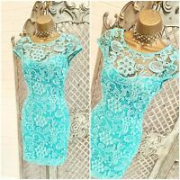 LIPSY  💋 UK 8 Turquoise Sheer Floral Lace Open Back Wiggle Mini Dress ~Free P&P