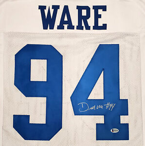 DALLAS COWBOYS DEMARCUS WARE AUTOGRAPHED SIGNED WHITE JERSEY BECKETT 185931
