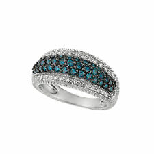 1.01 CT Blue & white diamond pave ring Set In 14K White Gold IDJR6454WDL