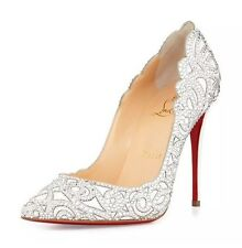 Christian Louboutin 7288 Top Vague Scalloped Crystal Red Sole Pump Sz EU 39
