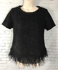 Anthropologie Deletta Small Black Sequin Feather Bling Top Short Sleeve Shirt