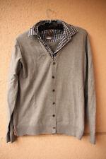 Grauer Pulli in Fake Jacken-Hemd-Kombilook von Sutherland, Größe M