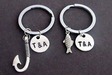 Fish & Hook Key Chain Set,Husband Wife,Girlfriend Boyfriend,Couples Jewelry gift
