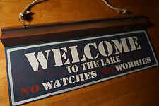 New listing Welcome To The Lake No Watches No Worries Cabin Lodge Blue Home Decor Sign New