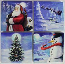 CHRISTMAS COASTER SET of 4 Santa Sleigh Tree Snowman Frosty Holiday Xmas Trivet