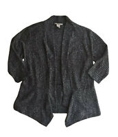 Belah & Codey Black White Long Sleeve Close Knit Open Sweater Cardigan Sz Large