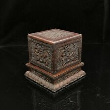 "6"" China old antique huanghuali wood handcarved dragon Seal Statue"