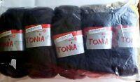 Schoeller-Stahl Tonia Yarn Black 5 Skein LOT Gr8 for Ruffle Scarf Ribbon Fishnet