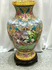 Hand made Beautiful multi-color raised cloisonne pair of vases
