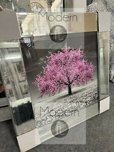Small pink blossom tree picture in mirrored frame, pink glitter art picture