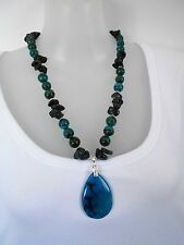 SALE Chrysocolla Blackstone Necklace with Dragon Vein Pendant was $39 NOW $32