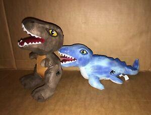 Jurassic World Soft Dinosaur Velociraptor + Mosasaurus Sea Dinosaur Plush Teddy