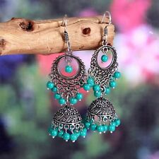 Traditional Silver Plated Oxidized jhumki Firoja beads Second Design Earrings #F