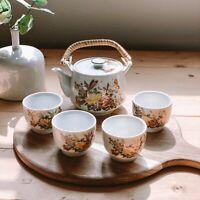 Vintage Ceramic White & Gold Floral & Butterfly Print Tea Set Pot & 4 Teacups