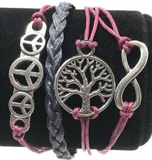 Bracelets Friendship Womens Adjustable Peace Signs Infinity Tree Wine Blue NEW