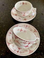 Furnivals Denmark Red / Pink  Breakfast Cups & Saucers  (Large Teacups)