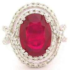 14K white gold 4.60CT OVAL CUT RUBY AND ROUND CUT DIAMONDS HALO BRIDAL RING