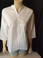 NEW wTAG Peasant Top Tunic Boho Shirt Blouse XL Extra Large White Embroidery