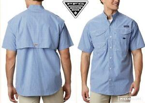 COLUMBIA PFG super bonehead shirt vented omni shade blue gingham check mens xxl