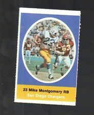 1972 SUNOCO STAMP MIKE MONTGOMERY SAN DIEGO CHARGERS