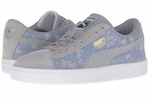 New Puma Suede Night Camo PS Limestone Puma Royal Blue YOUTH Size 362054 03 Gray