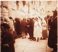 Jerusalem Mur des Lamentations Juifs Photo Plaque verre Stereo 1935