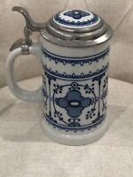 German Echt Kobolt Hand Painted Blue White Fine China Stien Mug Pewter 1940's