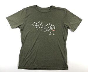 Sitka Men's Large Logo Tee Shirt Crew Neck Olive Green Birds Cotton Poly Blend