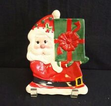 "Fitz & Floyd Santa with Present 7"" Candy Dish Plate, Holiday Sweet Holiday"