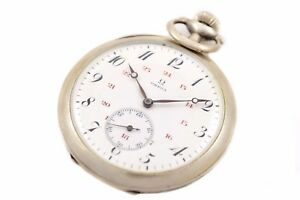 Vintage Omega Stainless Steel Hand Wind Pocket Watch 1153