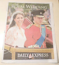 ROYAL WEDDING NEWSPAPERS The Daily Express Prince William Kate Middleton JOB LOT