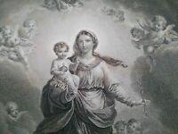 Grande gravure La Sainte Vierge et les anges Peretti et Bofselman Bosselman