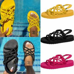 Elegant Summer Sandals Womens Slip On Beach Shoes Slippers Flip Flop Flat DE