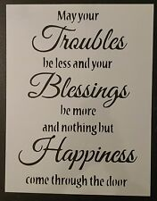"Irish Blessing Blessings Happiness 8.5"" x 11"" Custom Stencil FAST FREE SHIPPING"