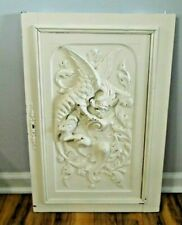 """Vintage 29"""" Wood Carved Door Panel Winged Griffin Gothic  Salvage Painted"""