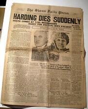 Historic Newspaper Headline President Harding Dies Suddenly August 3 1923