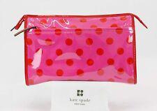 Kate Spade Pink Red Polka Dot Large Zip Top Cosmetic Case B354