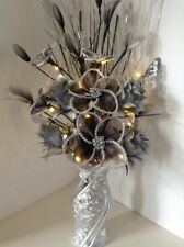 Artificial Silk Flower Arrangement Silver Flowers in Silver Glitter Vase Lights