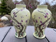 Antique Chinese Famille Rose Porcelain Vases or Pair of Meiping Jars Republic
