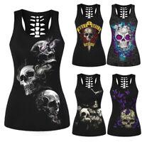 Women Skull Print Hollow Out T-Shirt Sleeveless Tank Tops Vest Halloween Costume